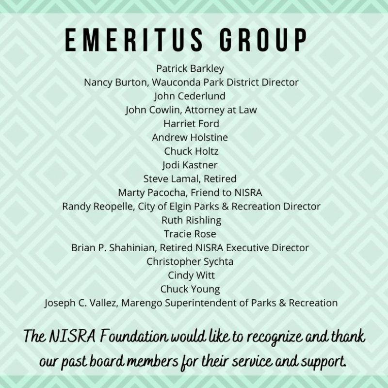 Listing of Emeritus Group of past Foundation board members