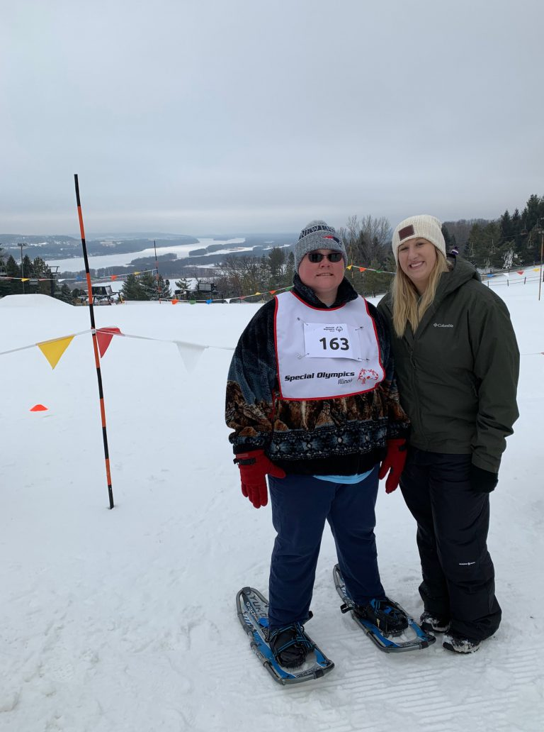 Special Olympics participant in snowshoes